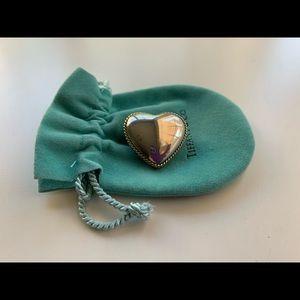 Tiffany & Co Sterling Silver Heart Brooch Pin